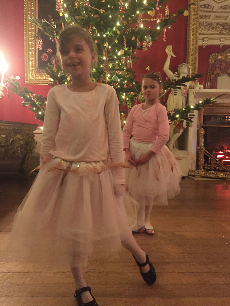 Pale pink tulle ballerina tutus with feathers at Chatsworth House