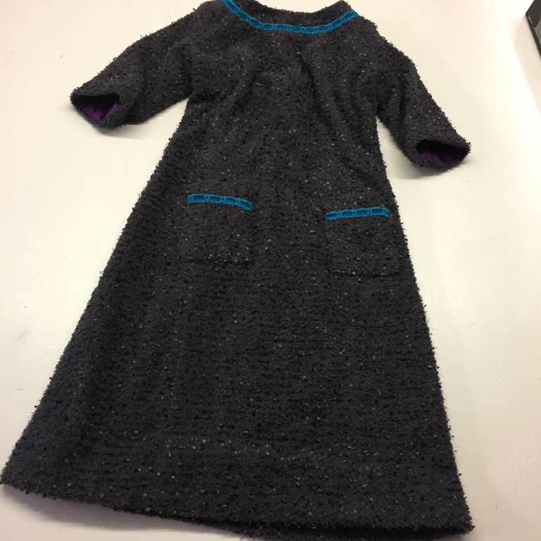 tufted bouclé tweed channel dress