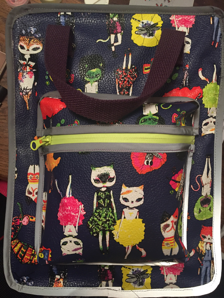 cat lady printed vinyl rucksack