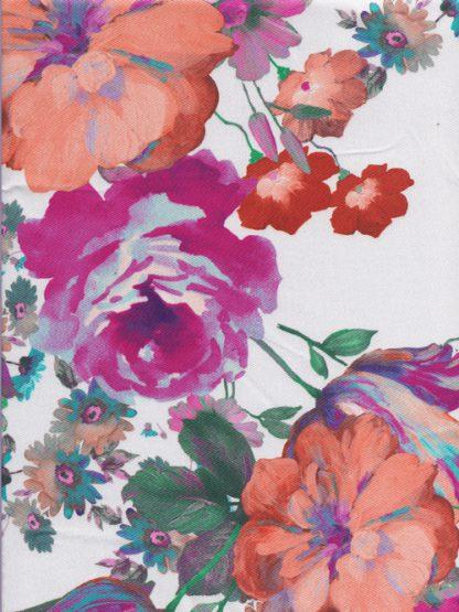 Orange and Green floral print polyester twill taffeta