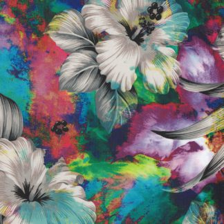 multicolour floral print laminated polyester waterproof fabric