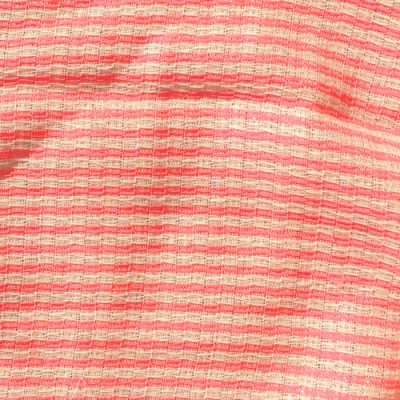 designer neon pink and ivory stripe gauzey wool crepe from LG