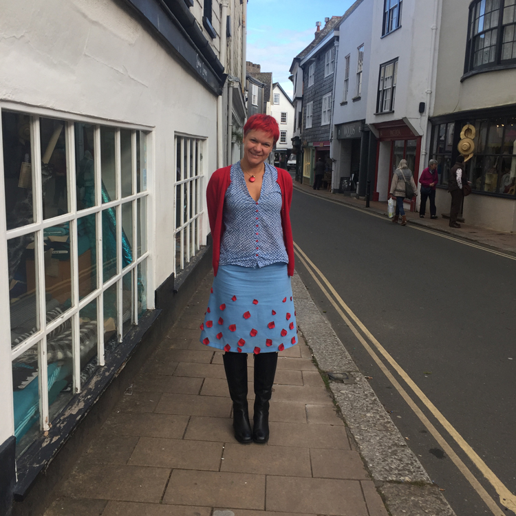 wool challis skirt with artificial petal embellishment