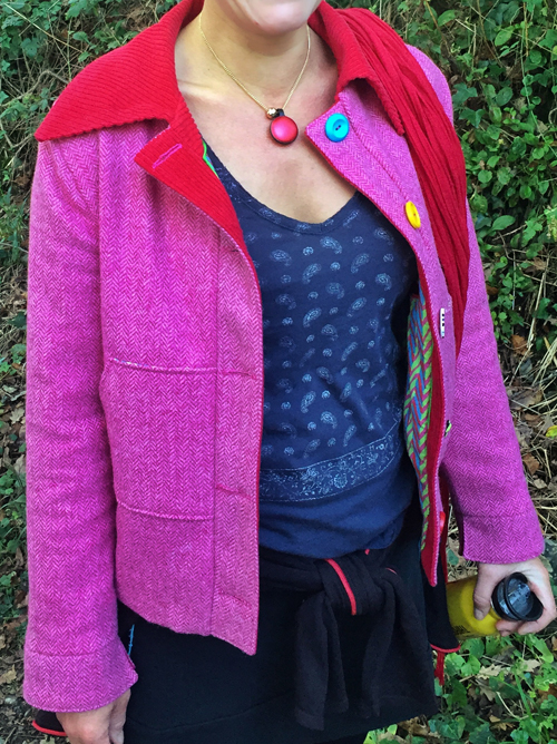Pink Wool tweed jacket with red jumbo cord facings and collar