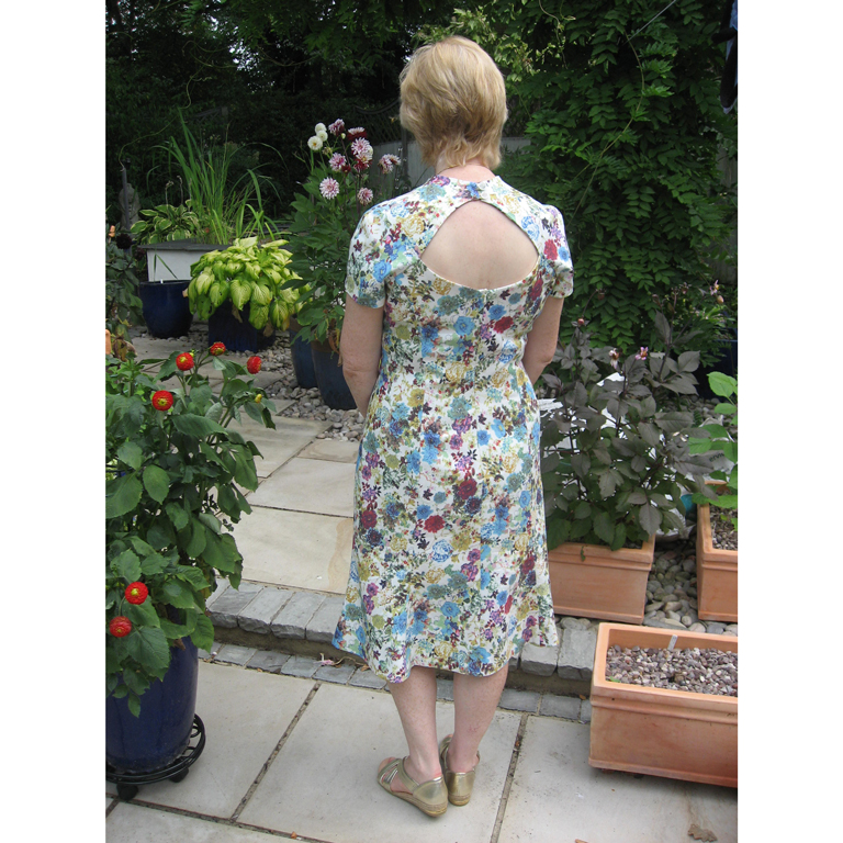 floral cotton drill dress with cut out detail on back