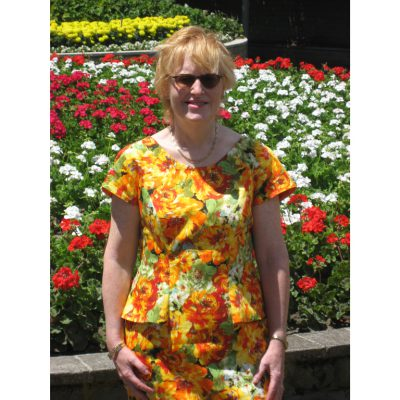 Orange and Green floral stretch cotton sateen dress