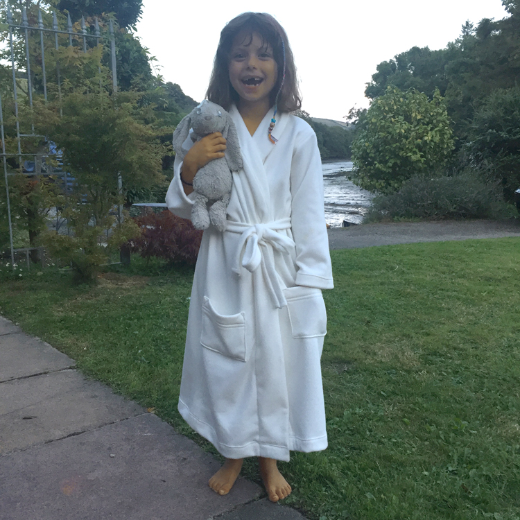 plush fleece backed cotton jersey dressing gown