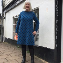 Blue big spot print modal and elastane jersey dress