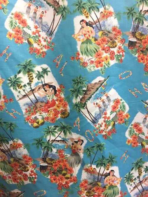 hula girl print linen and cotton shirting