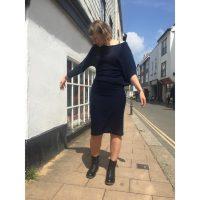 Jacquard wool mix jersey batwing asymmetric dress