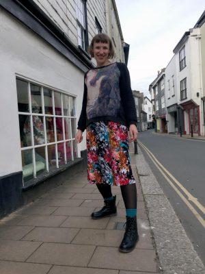 Multicolour digital print poly lightweight jersey skirt