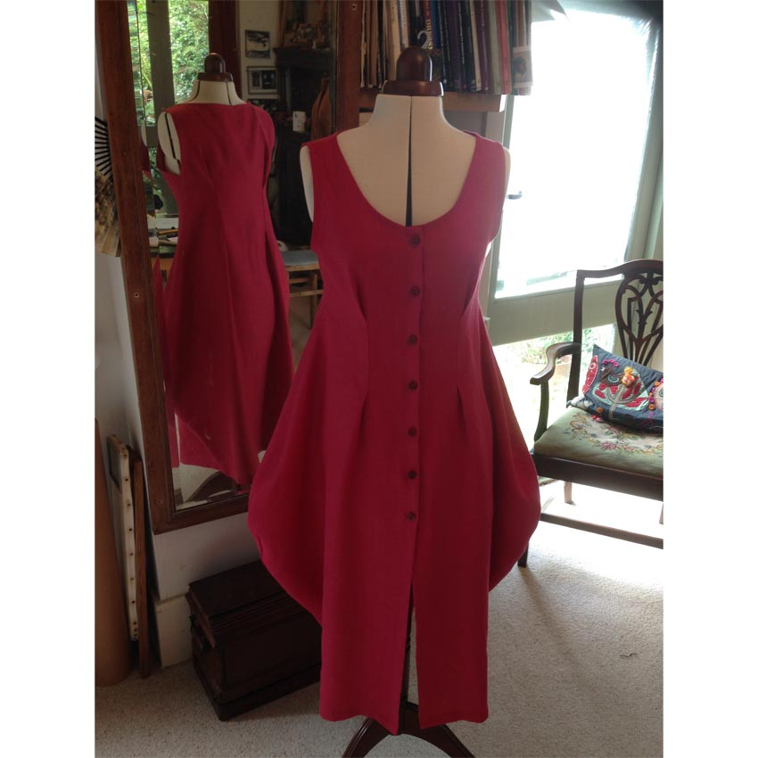 raspberry heavy washed linen Lynn Mizono dress