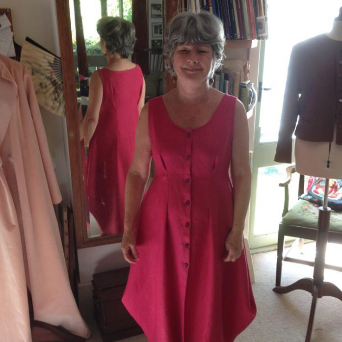 Raspberry Heavy Washed Linen for Mother-of-the-Groom Dress