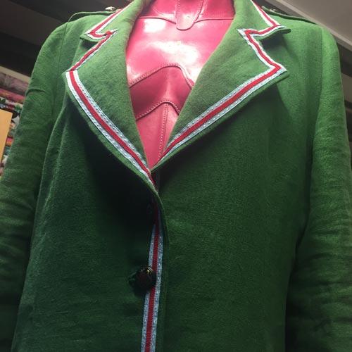 washed heavy linen green coat