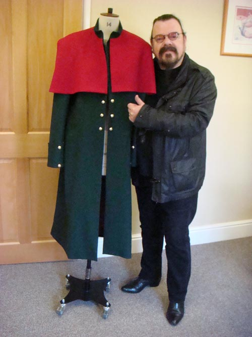 Roy Wood stage coat in bottle green and wine red wool crepe