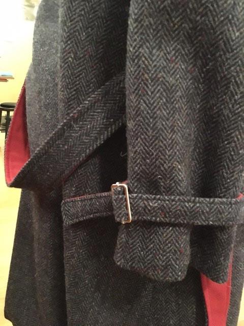 Wool Tweed Ulster Coat belt detail