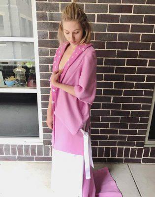 pink felted wool kimono coat