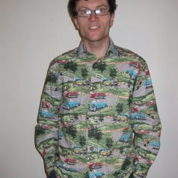 cars and landscape print cotton shirt