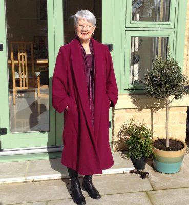 Plummy Pink Wool Melton Coat with Shawl Collar