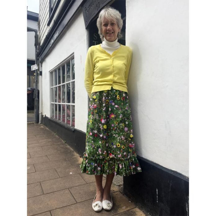 digital print meadow floral cotton canvas skirt