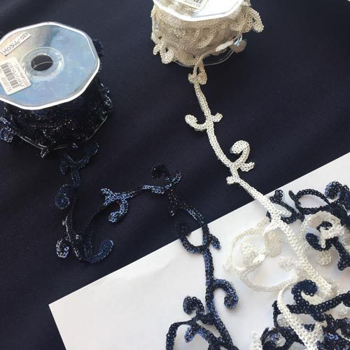 navy and white sequin scroll trim