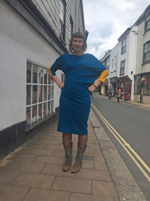 Bright Blue and Yellow Asymmetric Ponte Jersey Dress