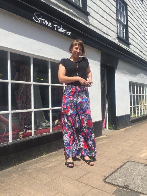 floral stretch cotton sateen wide leg trousers