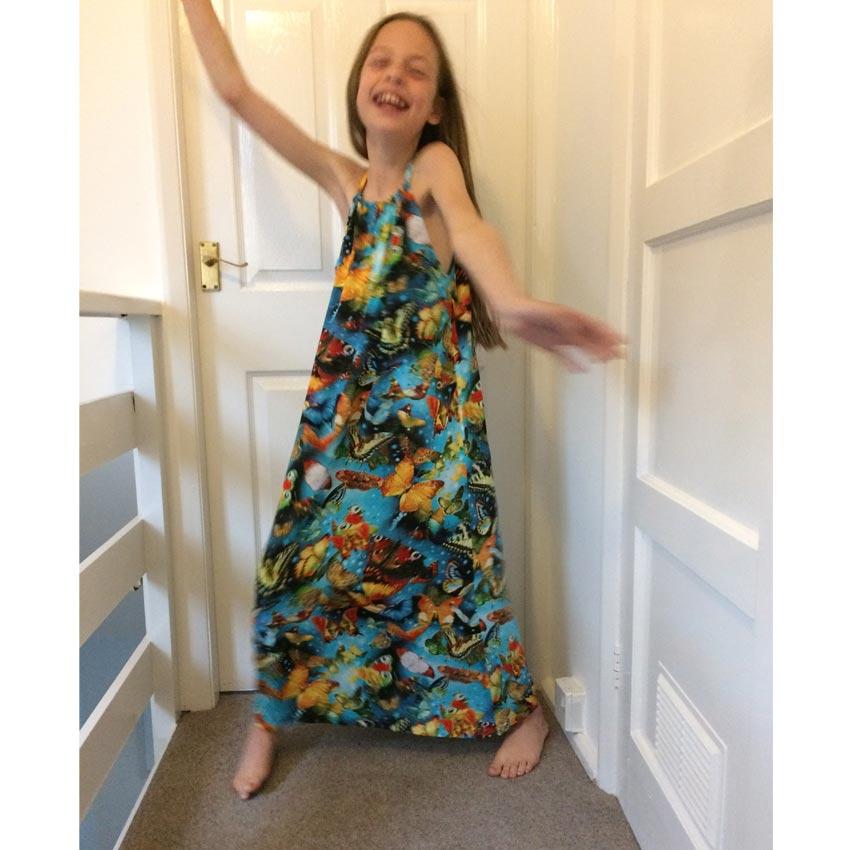 viscose 'learn to sew' halterneck girl's dress