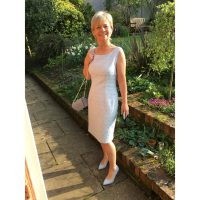 Silver Stretch Brocade Fitted Shift Dress