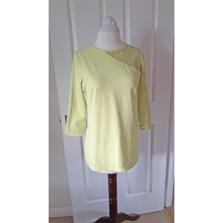 Spring Green Cotton Jersey with inset Lace T-Shirt