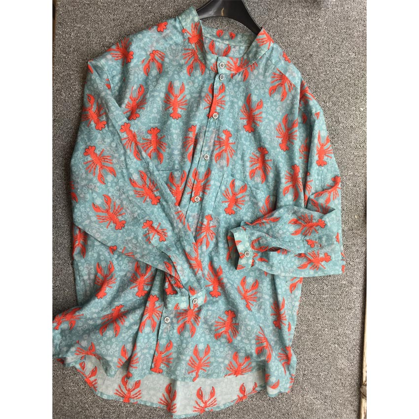 lobster print cotton voile man's shirt