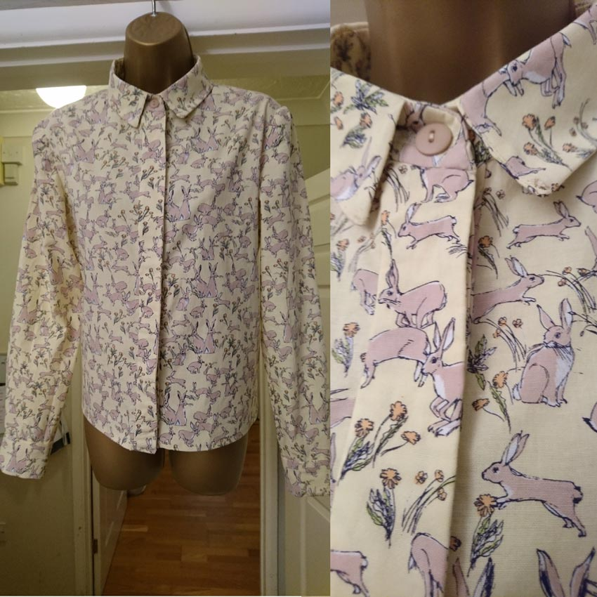 bunny print cotton shirt