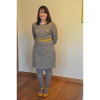 ditsy floral print wool challis dress