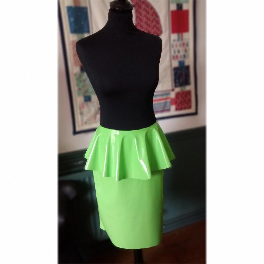 Bright Green Laminated Pvc Peplum Skirt Stone Fabrics