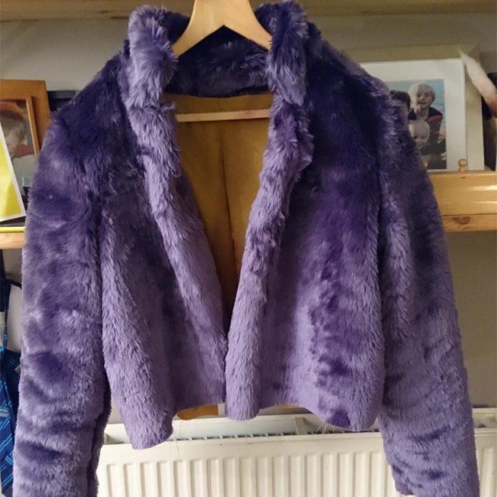 Purple Faux Fur Short Jacket