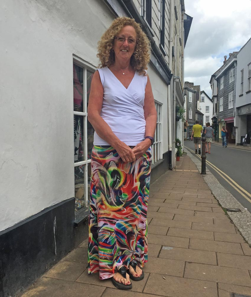 jersey mock wrap top and maxi skirt