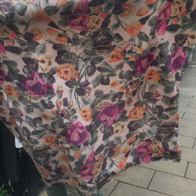 muted pink and sage floral print double silk crepe