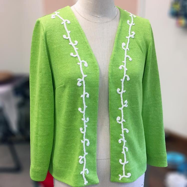 green linen jersey with scroll sequin trim