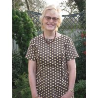 brown geo floral babycord shift dress with sleeves