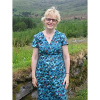 Peacock blue abstract print stretch cotton sateen dress
