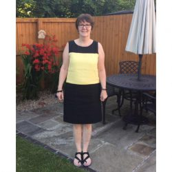 linen colour block shift dress