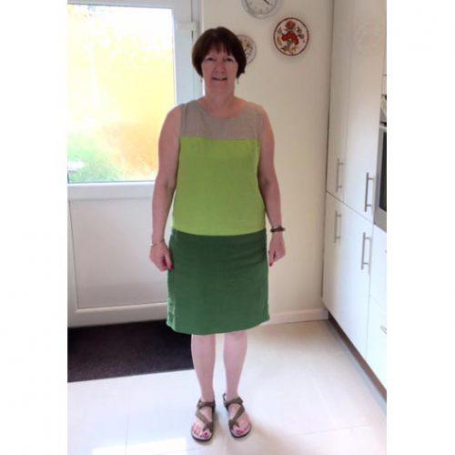 green linen colour block dress