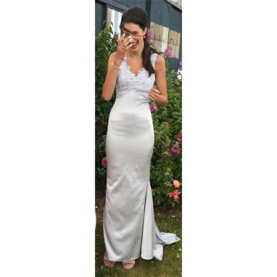 silver satin prom dress with guipure lace
