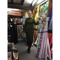 green and black spotty ponte roma jersey long sleeve dress