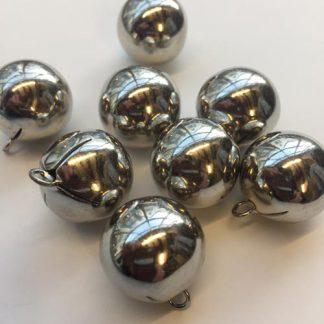 silver 18mm hollow metal ball button
