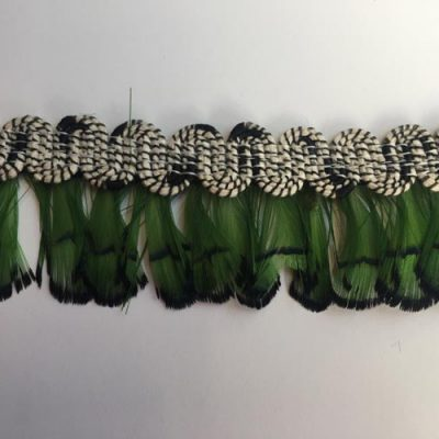 green fan feather trim with cotton gimp braid