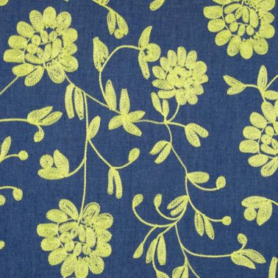 8796 chartreuse floral crewel embroidered cotton chambray denim