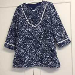 Blue and white paisley print tunic form the Tunic Bible