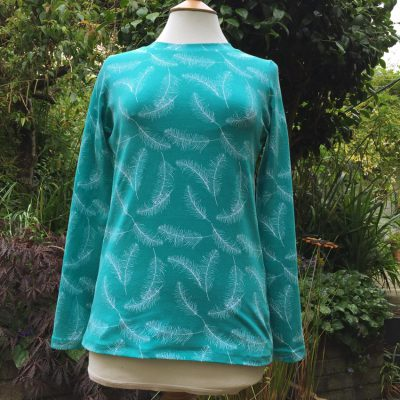 feather print cotton and elastane t-shirt