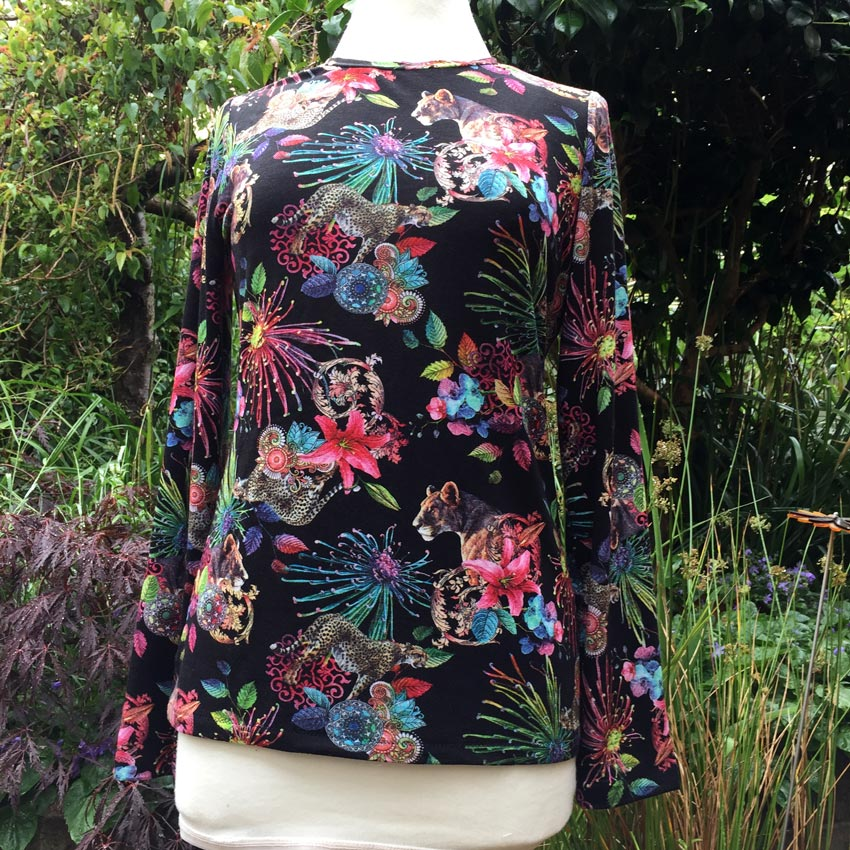 pussycat and floral digital print viscose jersey t-shirt